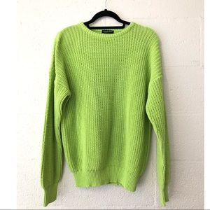 American Apparel Lime Green Cable Knit Sweater